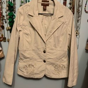 Bandolino Stretch Corduroy Off White Jacket Blazer